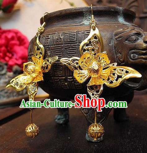 Asian Chinese Traditional Handmade Jewelry Accessories Palace Lady Golden Butterfly Earrings for Women