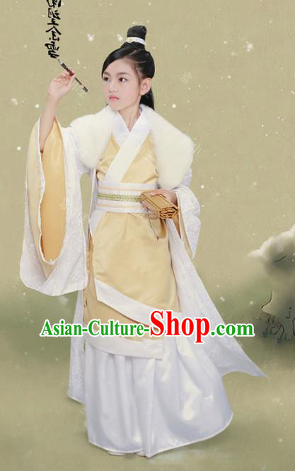 Traditional Chinese Qin Dynasty Scholar Clothing, China Ancient Swordsman Costume for Kids