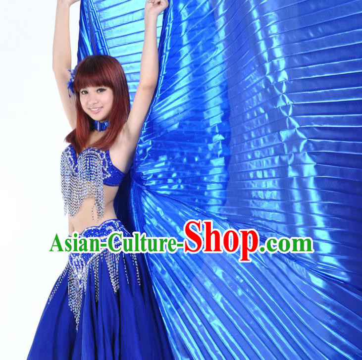 Asian Indian Belly Dance Prop Blue Wings India National Stage Performance Large Wing for Women