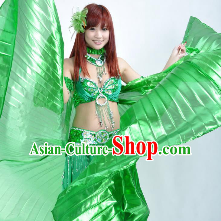 Asian Indian Belly Dance Prop Green Wings India National Stage Performance Large Wing for Women