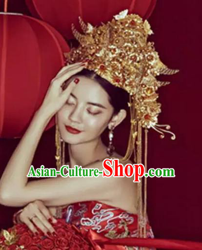 Chinese Handmade Classical Hair Accessories Ancient Wedding Phoenix Coronet Hanfu Headwear for Women