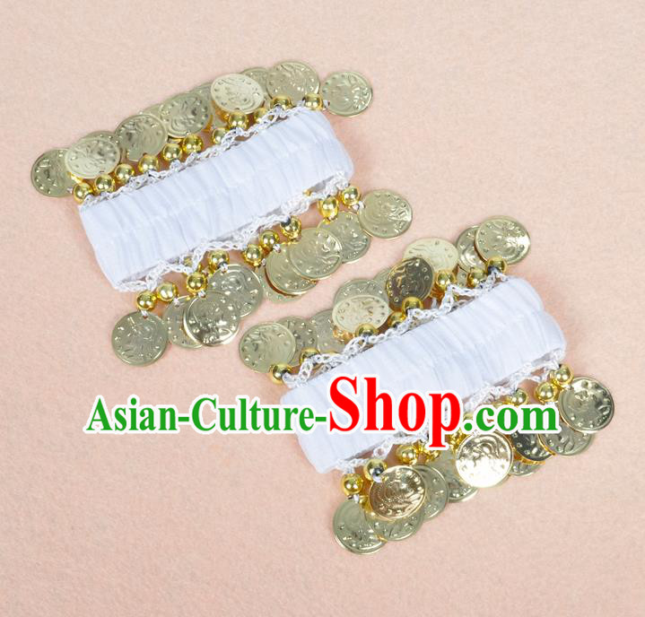 Oriental Indian Belly Dance Accessories White Bracelets India Stage Performance Golden Coin Bangle for Women