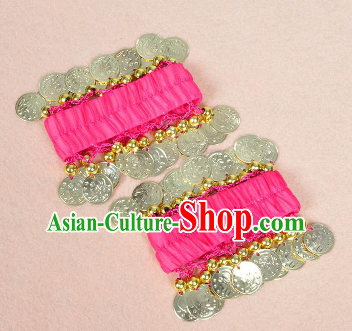 Oriental Indian Belly Dance Accessories Rosy Bracelets India Stage Performance Golden Coin Bangle for Women