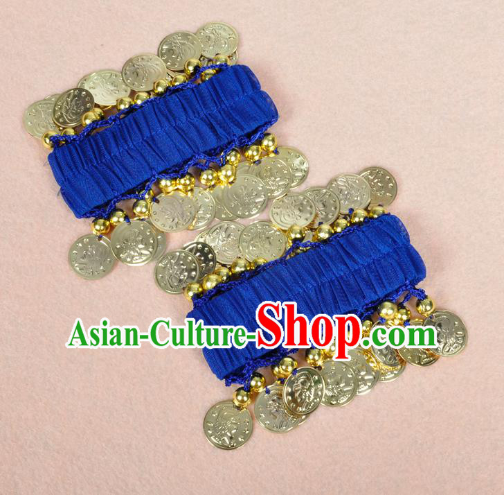 Oriental Indian Belly Dance Accessories Royalblue Bracelets India Stage Performance Golden Coin Bangle for Women