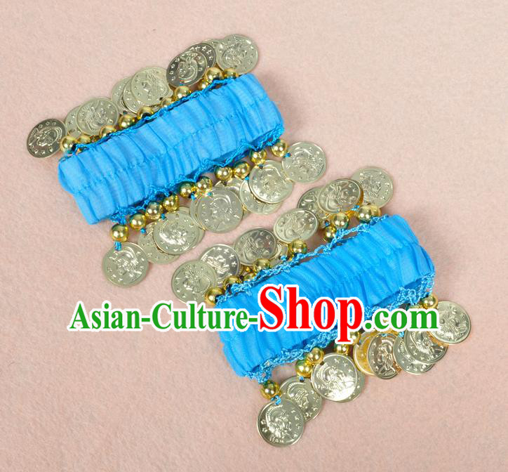 Oriental Indian Belly Dance Accessories Blue Bracelets India Stage Performance Golden Coin Bangle for Women