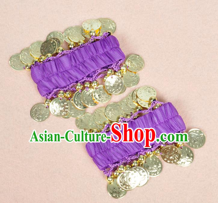 Oriental Indian Belly Dance Accessories Purple Bracelets India Stage Performance Golden Coin Bangle for Women