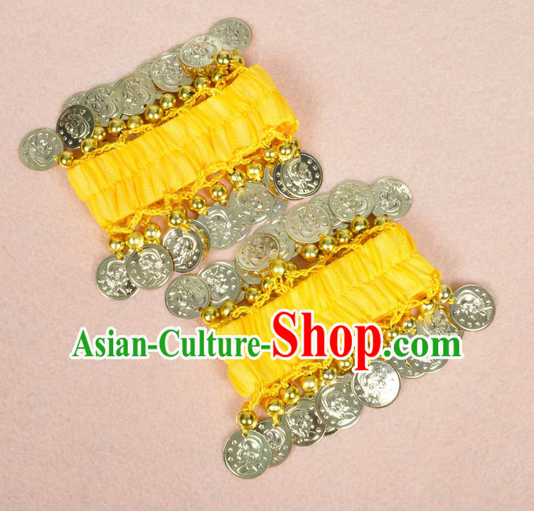 Oriental Indian Belly Dance Accessories Yellow Bracelets India Stage Performance Golden Coin Bangle for Women
