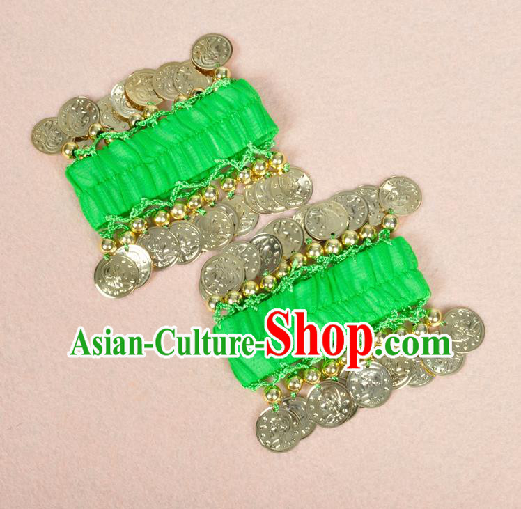 Oriental Indian Belly Dance Accessories Green Bracelets India Stage Performance Golden Coin Bangle for Women