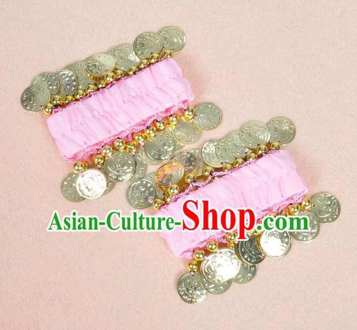 Oriental Indian Belly Dance Accessories Pink Bracelets India Stage Performance Golden Coin Bangle for Women