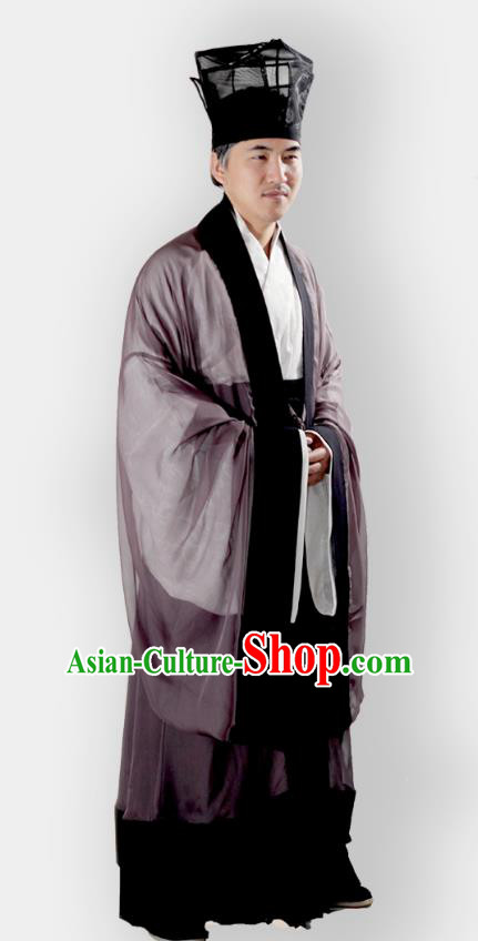 Chinese Ancient Ming Dynasty Confucian Scholar Hanfu Costume Complete Set for Men