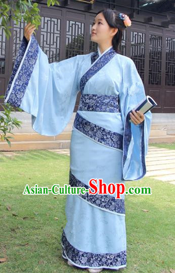 Chinese Ancient Han Dynasty Palace Princess Costume Hanfu Blue Curving-front Robe for Women