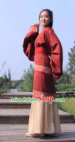 China Ancient Han Dynasty Palace Lady Costume Hanfu Curving-front Robe for Women
