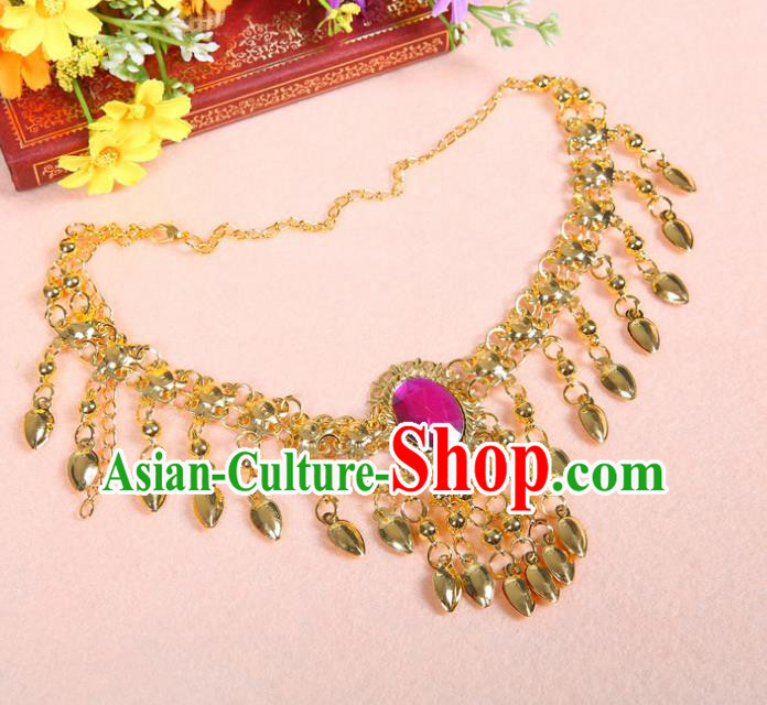 Asian Indian Belly Dance Accessories Necklace India National Dance Rosy Crystal Necklet for Women