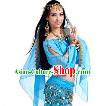 Asian Indian Belly Dance Hair Accessories Frontlet and Blue Veil for Women