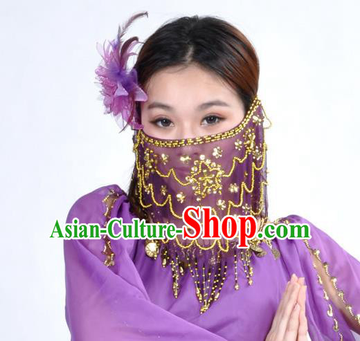 Asian Indian Belly Dance Purple Veil India National Dance Mask Veil for Women