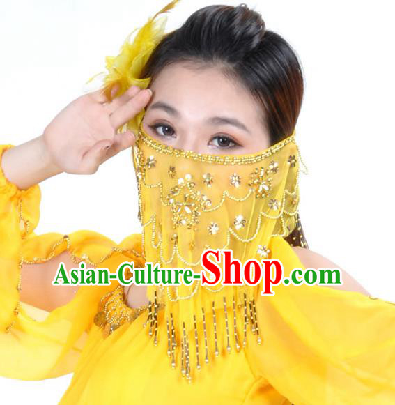 Asian Indian Belly Dance Yellow Veil India National Dance Mask Veil for Women