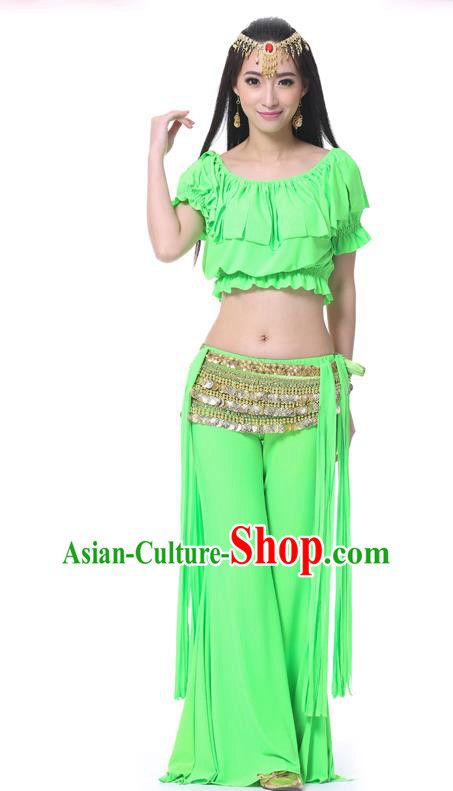 Indian Belly Dance Light Green Uniform India Raks Sharki Dress Oriental Dance Rosy Clothing for Women