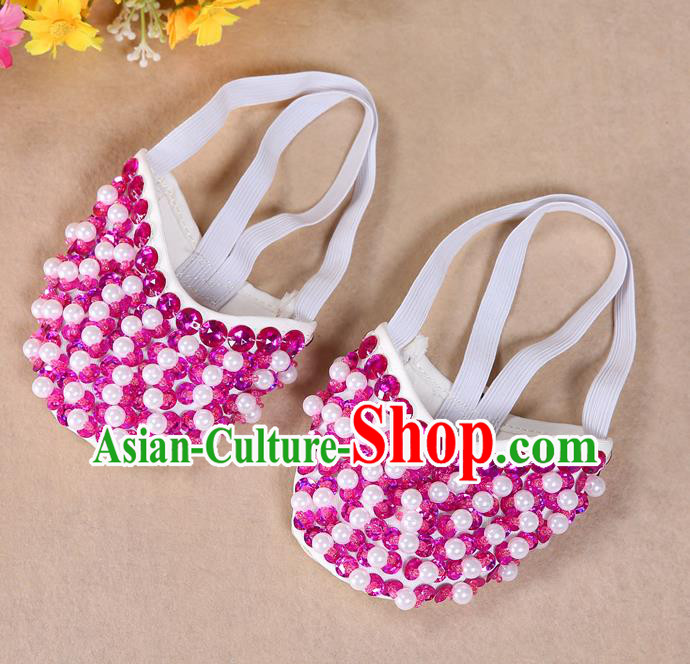 Asian Indian Belly Dance Shoes India Traditional Dance Rosy Beads Soft Shoes for for Women