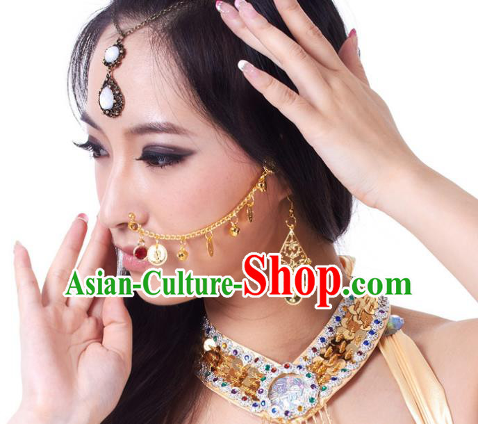 Asian Indian Belly Dance Accessories India Traditional Dance Golden Nose Chain for for Women