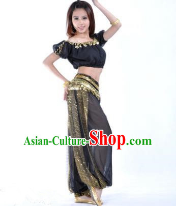 Asian Indian Belly Dance Costume Stage Performance Yoga Black Uniform, India Raks Sharki Dress for Women