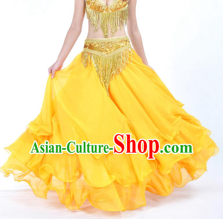 Asian Indian Belly Dance Costume Stage Performance Yellow Expansion Skirt, India Raks Sharki Dress for Women