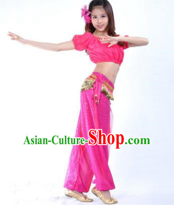 Asian Indian Belly Dance Costume Stage Performance Yoga Rosy Uniform, India Raks Sharki Dress for Women