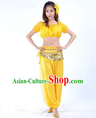 Asian Indian Belly Dance Costume Stage Performance Yoga Yellow Uniform, India Raks Sharki Dress for Women