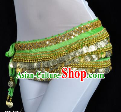 Asian Indian Traditional Belly Dance Light Green Waist Accessories Waistband India Raks Sharki Belts for Women