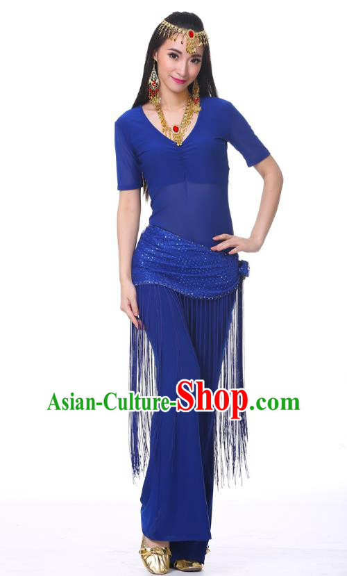 Indian Belly Dance Costume India Raks Sharki Royalblue Suits Oriental Dance Clothing for Women