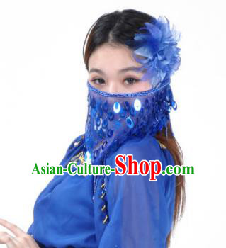 Indian Belly Dance Accessories Royalblue Paillette Yashmak India Traditional Dance Mask Veil for for Women