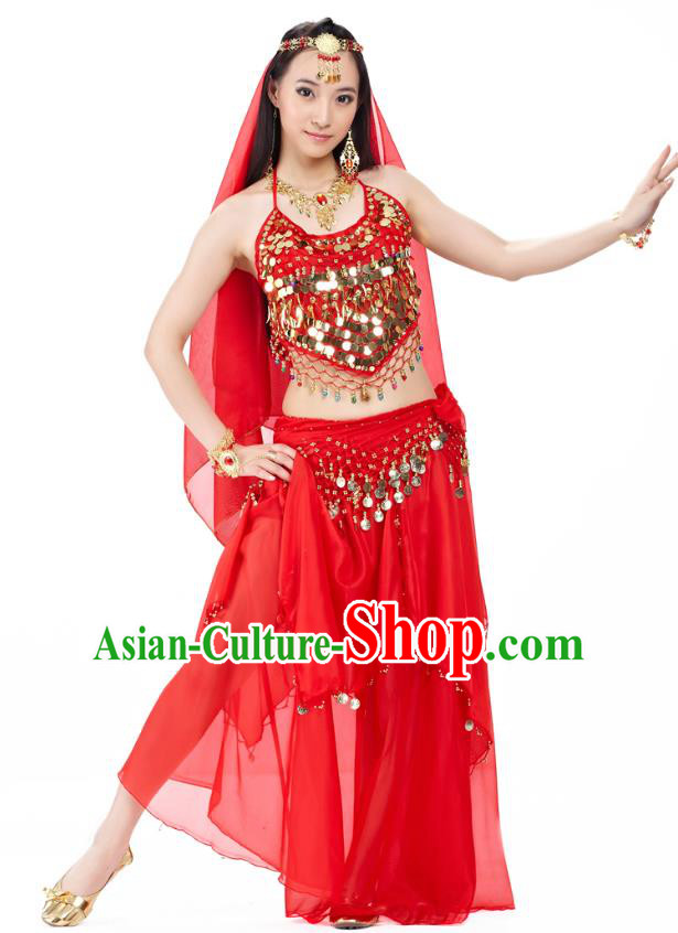 Top Indian Belly Dance Costume Oriental Dance Red Dress, India Raks Sharki Clothing for Women
