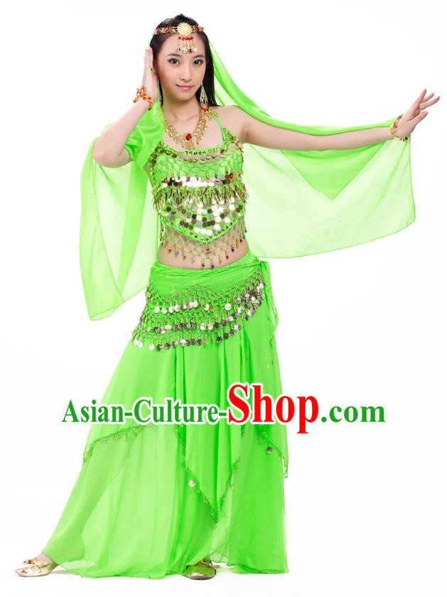 Top Indian Belly Dance Costume Oriental Dance Light Green Dress, India Raks Sharki Clothing for Women