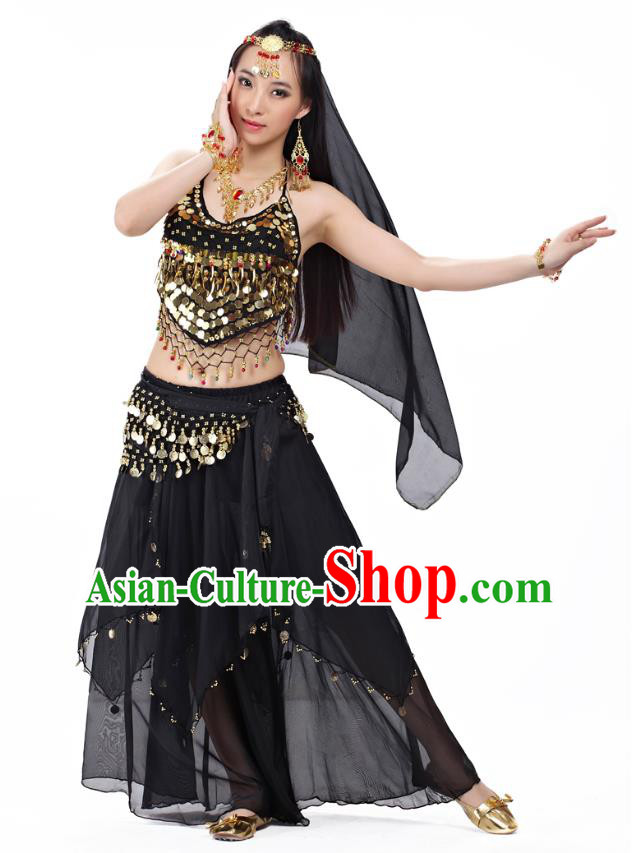 Top Indian Belly Dance Costume Oriental Dance Black Dress, India Raks Sharki Clothing for Women