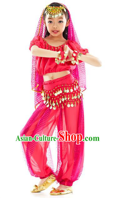 Top Indian Belly Dance Costume Oriental Dance Rosy Dress, India Raks Sharki Clothing for Kids