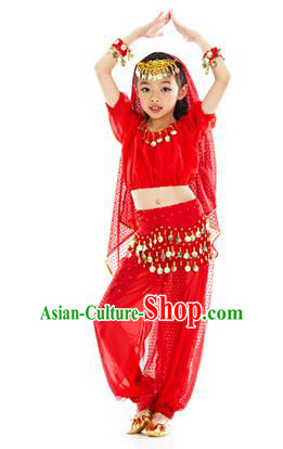 Top Indian Belly Dance Costume Oriental Dance Red Dress, India Raks Sharki Clothing for Kids
