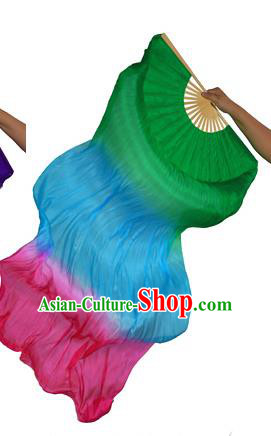 China Folk Dance Three-colour Folding Fans Yanko Dance Green Silk Fans for for Women