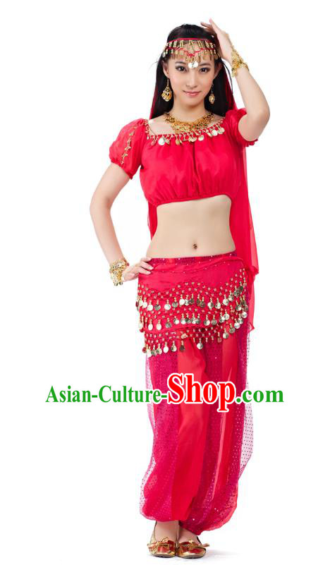 Top Indian Bollywood Belly Dance Costume Oriental Dance Rosy Dress, India Raks Sharki Clothing for Women