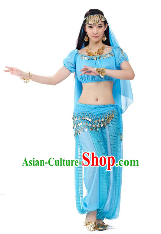 Top Indian Bollywood Belly Dance Costume Oriental Dance Blue Dress, India Raks Sharki Clothing for Women