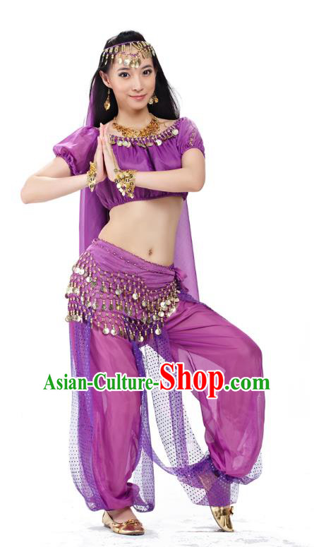 Top Indian Bollywood Belly Dance Costume Oriental Dance Purple Dress, India Raks Sharki Clothing for Women