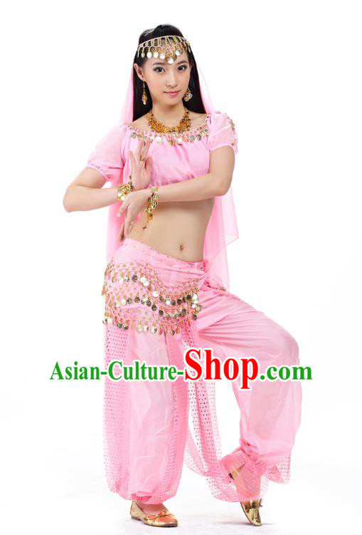 Top Indian Bollywood Belly Dance Costume Oriental Dance Pink Dress, India Raks Sharki Clothing for Women