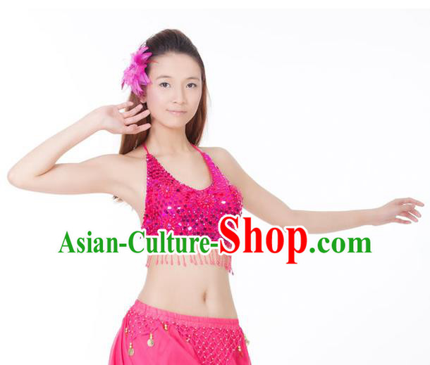 Top Indian Bollywood Belly Dance Costume Oriental Dance Rosy Paillette Brassiere for Women