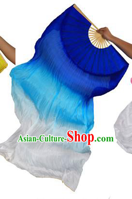 China Folk Dance Three-colour Folding Fans Yanko Dance Royalblue Silk Fans for for Women