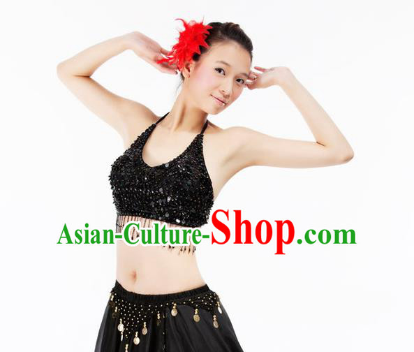 Top Indian Bollywood Belly Dance Costume Oriental Dance Black Paillette Brassiere for Women