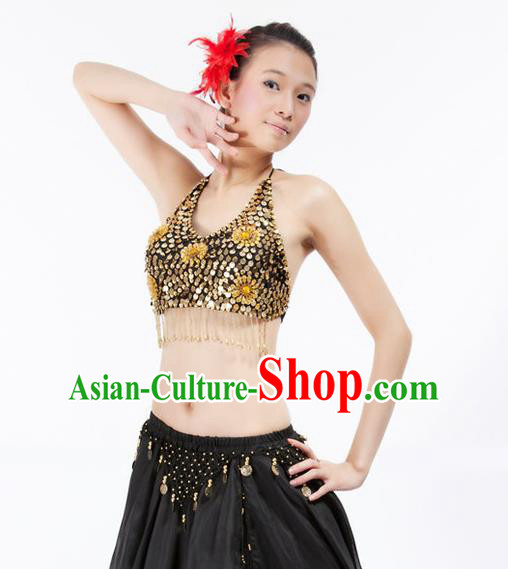 Top Indian Bollywood Belly Dance Costume Oriental Dance Golden Paillette Brassiere for Women