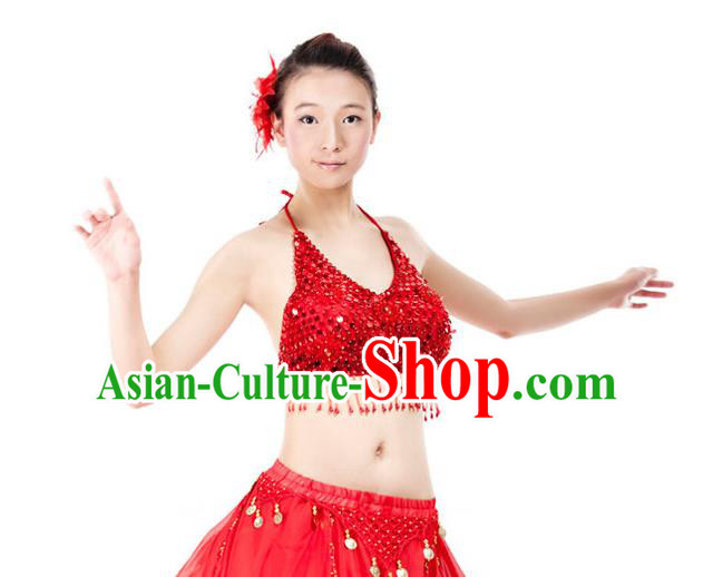 Top Indian Bollywood Belly Dance Costume Oriental Dance Red Paillette Brassiere for Women
