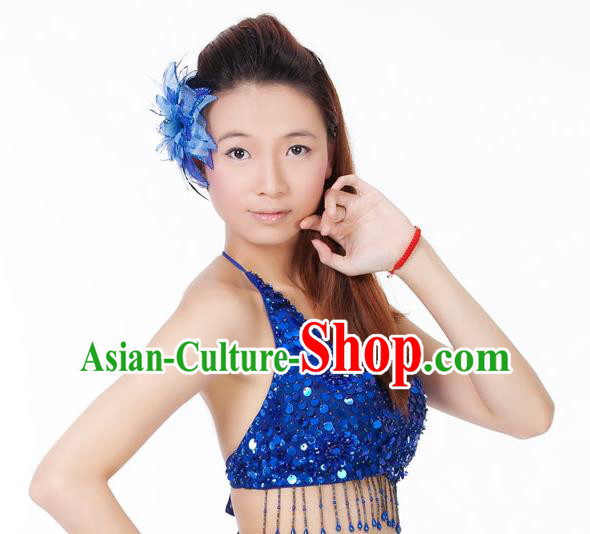 Top Indian Bollywood Belly Dance Costume Oriental Dance Royalblue Paillette Brassiere for Women