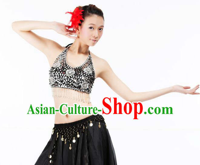 Top Indian Bollywood Belly Dance Costume Oriental Dance Argent Paillette Brassiere for Women
