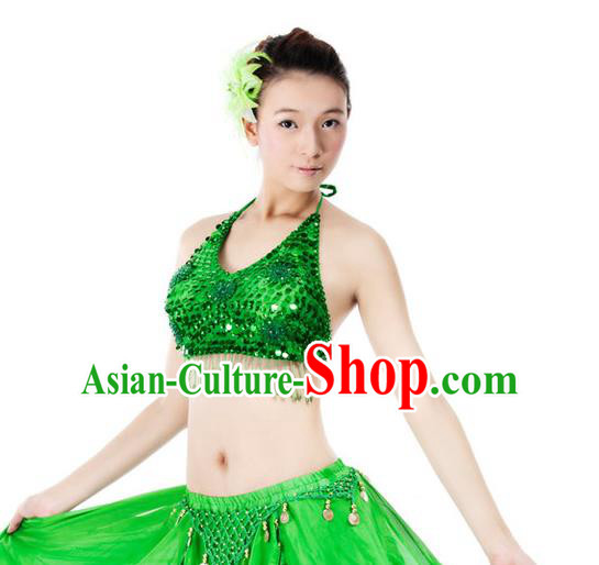Top Indian Bollywood Belly Dance Costume Oriental Dance Green Paillette Brassiere for Women