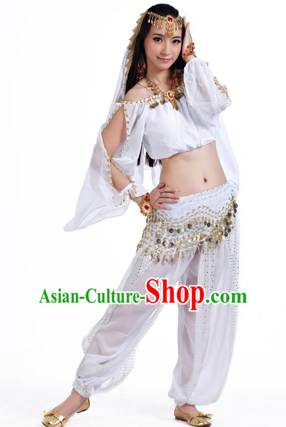 Top Indian Bollywood Belly Dance White Costume Oriental Dance Stage Performance Clothing for Women