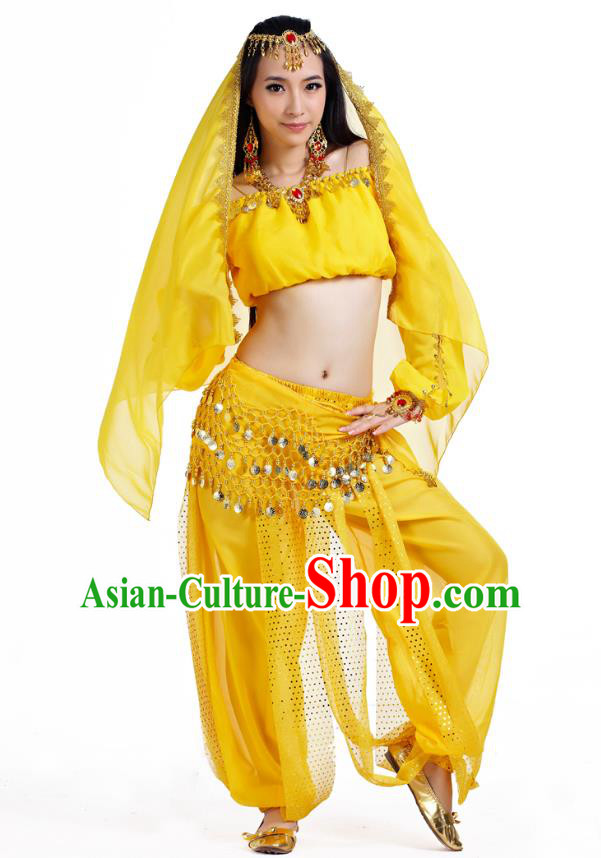 Top Indian Bollywood Belly Dance Yellow Costume Oriental Dance Stage Performance Clothing for Women